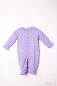 blue baby noomie onesie with cats and lions