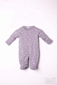 gray baby noomie onesie with cats and lions
