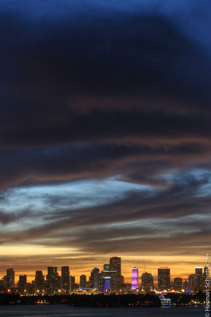 miami sunset colors skyline